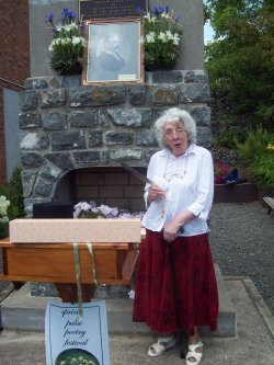 Ann Margetson at the Drummond Cairn in Cobalt, ON
