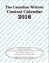 Canadian Writers' Contest Calendar 2016