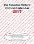 Canadian Writer's Contest Calendar 2017