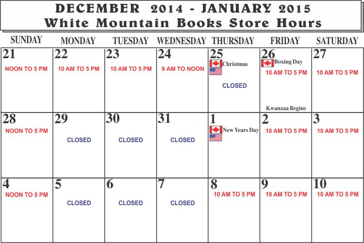 Holiday schedule 2014-2015