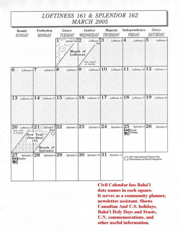Civil Calendar Pages