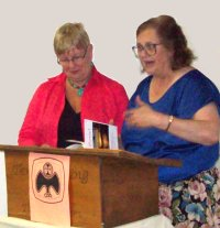 First Prize winner June Salmon and contest co-ordinator Deb Ranchuk