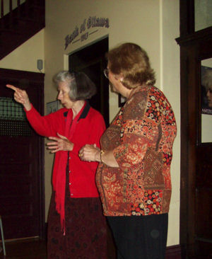 Vivian Hylands with Deborah Ranchuk -adding to the history of the building and Cobalt.