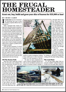 first page Homesteader article